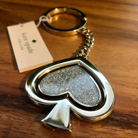 Kate Spade Swivel Glitter Spade Bag Charm Key Fob